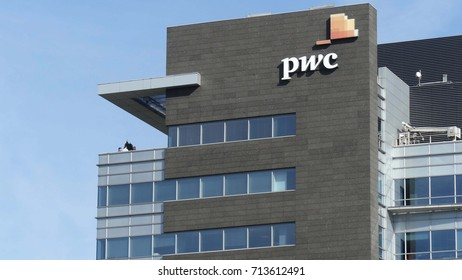 WARSAW, POLAND - SEPTEMBER 8, 2017. PricewaterhouseCoopers PwC modern office building