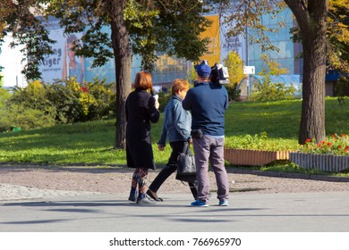 Warsaw, Poland - September 9, 2017: job of a reporter on street. interview people on camera TV