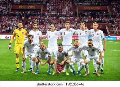 Warsaw, Poland, September 9, 2019: EURO 2020 qualifing round, group stage, Poland draws 0:0 with Austrial on PGE Narodowy.Poland group photo
