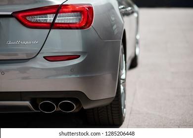 Warsaw, Poland-04.27.2018: Back Maserati Quattroporte, V6, 430 HP. Exhaust pipe of sport's modern car