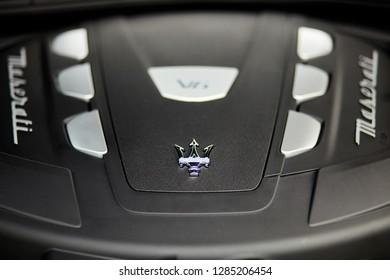 Warsaw, Poland-05.30.2018: V6 engine Maserati Quattroporte, V6, 430 HP,  sports modern car