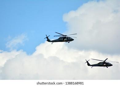Warsaw, Poland.3 May 2019. Blackhawk  flying over Wisla River
