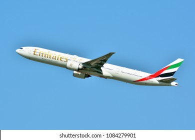 Warsaw, Poland.4 May 2018.  Passenger airplane Boeing 777-300 ER Emirates Airlines is flying from the runway of Warsaw Chopin Airport