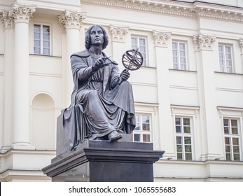 WARSAW, POLAND-APRIL 3, 2018: Nicolaus Copernicus Monument (by Bertel Thorvaldsen) in Warsaw (Poland) before the Staszic Palace, the seat of the Polish Academy of Sciences
