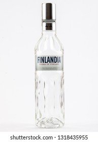 WARSAW, POLAND-DEC 20, 2018: Finlandia Vodka bottle isolated on a white background