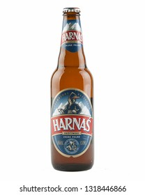 WARSAW, POLAND-DEC 20, 2018: Harnas beer bottle isolated on white