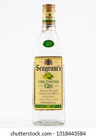 WARSAW, POLAND-DEC 20, 2018: Seagram's Gin bottle insulated on a white background