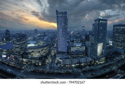 Warsaw, Poland-December 2016: Center of Warsaw seen from above