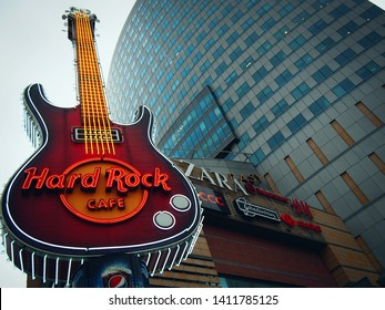 WARSAW, POLAND-JULY 25, 2017: Hard Rock Cafe Warsaw in the evening