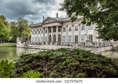 WARSAW, POLAND-SEP 25, 2018: A palace on the water in the Royal Lazienki park in Warsaw