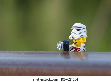 Warsaw, Polnad - August 2017 - lego star wars minifigure stormtrooper as an photohrapher