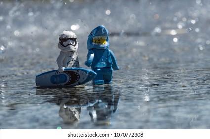 Warsaw, Polnad - July 2017 - lego star wars minifigure stormtrooper surf with shark man