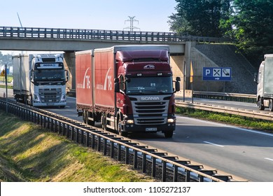 Warsaw region, Poland - May, 31, 2018: trucks on a highway in Poland