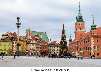 WARSAW ROYAL CASTLE SQUARE PANORAMA, POLAND - January 01, 2016. Warsaw old town on New Year and Christmas holidays. The Royal Castle, Christmas tree and Sigismund's Column.