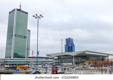 Warsaw - September 2013: The building of the central railway station.