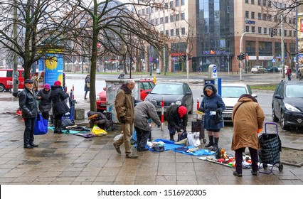 Warsaw - September 2013: Petty trading on the street, a modern part of the city.