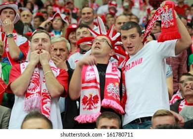 WARSAW - SEPTEMBER 6: Unidentified supporters during the 2014 FIFA World Cup qualification match between Poland and Montenegro at the National Stadium on September 6, 2013 in Warsaw, Poland.