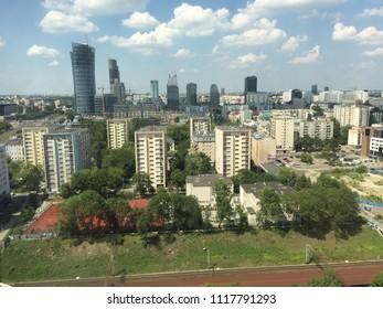 Warsaw in summer. Sky scrapers.. Office  buildings. Blocks of flat.