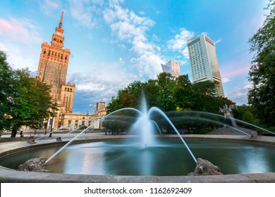 Warsaw and View of Palace of Culture and sciences (one of the main travel attractions - The Main symbol of Warsaw) with Fountain Close Up