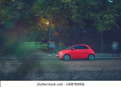 Warsaw,Poland, 06-2017, New red Fiat 500 on street of Warsaw.