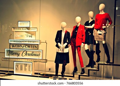 Warsaw,Poland. 1 December 2017. Shop window  of a Reserved shop. Christmas decoration