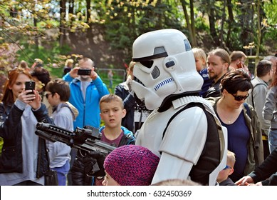 Warsaw,Poland. 1 May 2017. Star Wars Day. People in  costume for the Star Wars  which marks the start of the  Star Wars Day