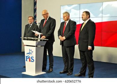 """Warsaw,Poland. 13 April 2017.Press conference """"Prawo i sprawiedliwosc"""""""