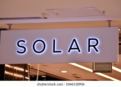 Warsaw,Poland. 14 March 2018. Sign Solar. Company signboard Solar.