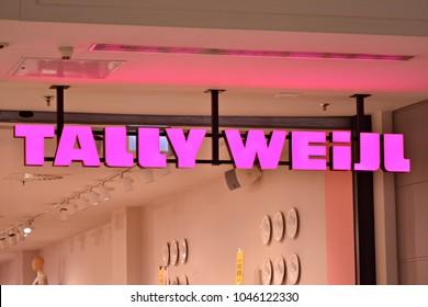 Warsaw,Poland. 14 March 2018. Sign Tally Weijl. Company signboard Tally Weijl.