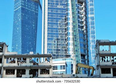 Warsaw,Poland. 16 October 2017. Demolition of office building PHN