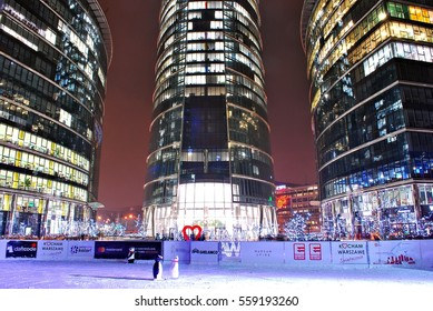 Warsaw,Poland. 18 January 2017. Warsaw Spire. Office buildings in Warsaw at night,