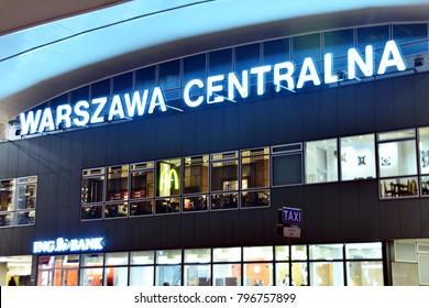 Warsaw,Poland. 18 January 2018. Sign neon Warszawa Centralna
