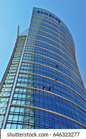 Warsaw,Poland. 22 May 2017. Workers wash the modern office building Warsaw Spire.