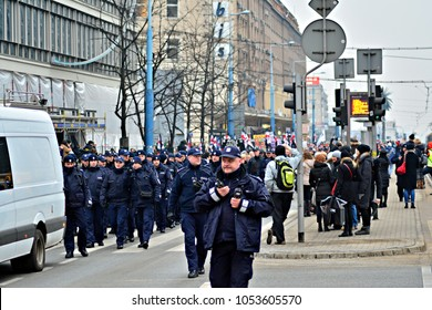 Warsaw,Poland. 23 March 2018. Thousands of people protests in Warsaw against the conservative government's latest attempt to restrict abortion.