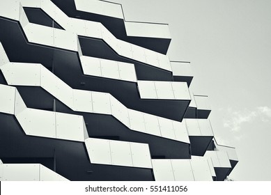 Warsaw,Poland. 23 September 2016. Apartment building Manhattan Place. modern facade of apartment building. black and white.