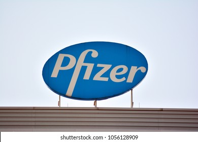 Warsaw,Poland. 25 March 2018. Sign Pfizer. Company signboard Pfizer.