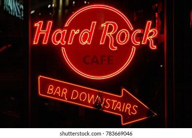 Warsaw,Poland. 27 December 2017. Neon Sign Hard Rock Cafe.
