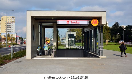 Warsaw,Poland. 27 September 2019. Second line of Warsaw Subway system. The entrance of a subway station. Warsaw Trocka