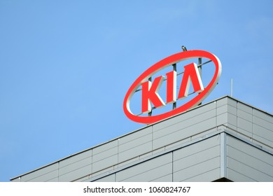 Warsaw,Poland. 3 April 2018. Sign Kia Motors. Company signboard Kia Motors.
