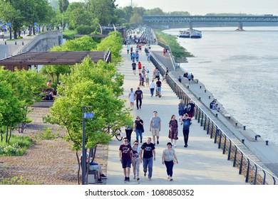 Warsaw,Poland. 30 April 2018. Vistulan Boulevards on the western side of the River Vistula in Warsaw.  The promenade at the bank of the Vistula river
