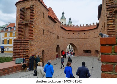 Warsaw/Poland - 5 May 2019: Barbican - Fortified medieval outpost in Warsaw, Poland, The old city in Warsaw.