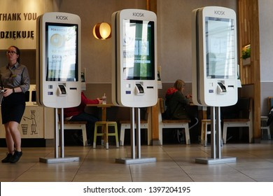 Warsaw/Poland - 5 May 2019: Mcdonald's ordering kiosk. McDonalds restaurant interior. McDonald's is the world's largest chain of hamburger fast food restaurants, founded in the United States.