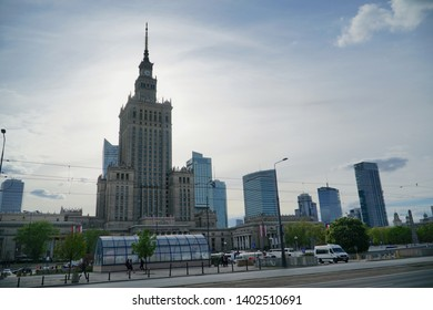 Warsaw/Poland - 5 May 2019: Warsaw Palace of Culture and Science is the city's most visible landmark and tallest building in Poland.