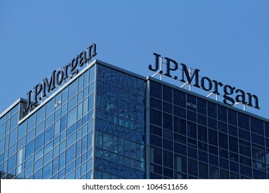 Warsaw/Poland, April 8, 2018: View on the two logotypes of J.P. Morgan's logotype in top of headquarters