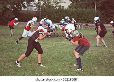 Warsaw,Poland. August 2016. American football players