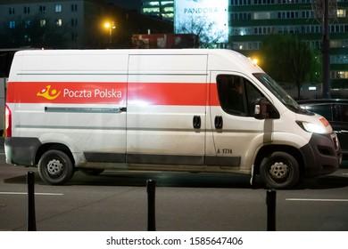 Warsaw/Poland December 11, 2019 Poczta Polska mail delivery van on city street. Poczta Polska (Polish Post) is the state postal administration of Poland.