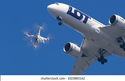 Warsaw/Poland - February 11, 2017. Dangerous situation with the Boeing 787 Dreamliner of Polish Airlines Lot and a drone