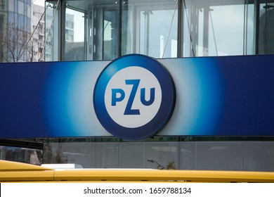 WARSAW/POLAND - FEBRUARY 28, 2020: View on Polish Insurance Company (PZU) sign on the building