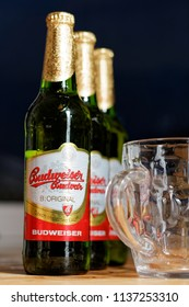 WARSAW/POLAND - JULY 18, 2018: View on pinta and three bottles of Budweiser Budvar - premium export lager beer