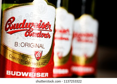 WARSAW/POLAND - JULY 18, 2018: View on three bottles of Budweiser Budvar - premium export lager beer on the table
